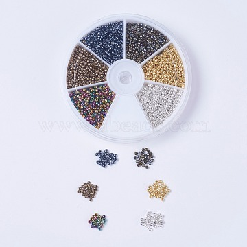 FGB 12/0 Round Glass Seed Beads, Iris Round Beads, Mixed Color, 2x1.5mm, Hole: 0.5mm; about 550~600pcs/color, 6colors, about 3300~3600pcs/box(SEED-JP0007-07)