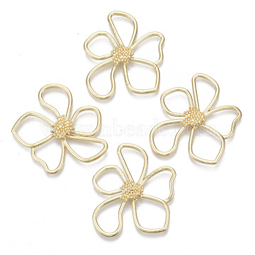 Alloy Pendants, FLower, Light Gold, 42.5x37.5x4.5mm, Hole: 10.5x13mm(PALLOY-T077-08)