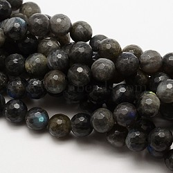 Grade AA Natural Gemstone Labradorite Faceted Round Beads Strands, 12mm, Hole: 1mm; about 32pcs/strand, 15.5inches