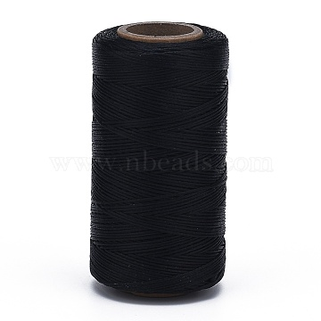 Flat Waxed Polyester Cords, Black, 1x0.3mm, about 284.33 yards(260m)/roll(YC-K001-17)