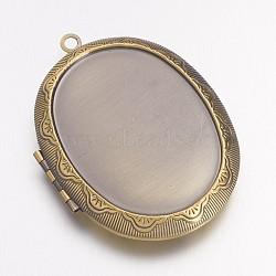 Pendentifs de médaillon en laiton, breloques cadre de photo pour colliers, ovale, sans nickel, bronze antique, 51x38x9mm, Trou: 2mm(X-KK-M041-04AB-NF)