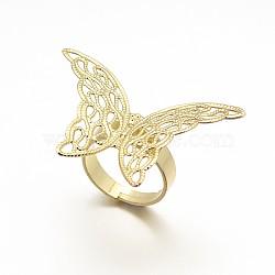 laiton réglable composants de réglage de l'anneau en filigrane, plaqué longue durée, anneau papillon, or, 17 mm; plateau: 27x39x0.6 mm(KK-L054-04)
