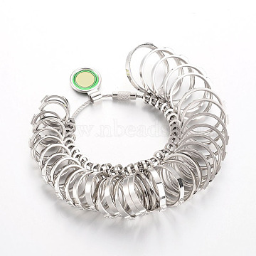 Stainless Steel Ring Sizers Professional Model, Stainless Steel Color, 12~23mm; 33pcs/set(TOOL-O004-02)