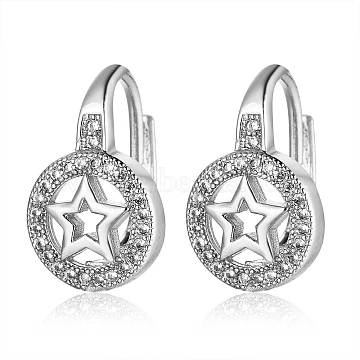Brass Micro Pave Cubic Zirconia Pentacle Leverback Earrings, Flat Round with Star, Clear, Platinum, 16x13x10.5mm; Pin: 1mm(EJEW-S205-JN467-1)