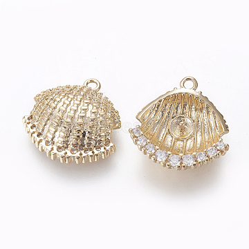 Brass Peg Bails Pendants, with Rhinestone, For Half Drilled Beads, Nickel Free, Long-Lasting Plated, Scallop Shell Shape, Real 18K Gold Plated, 15x15x4.5mm, Hole: 1.2mm(KK-E768-15G)