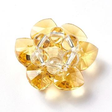 35mm Gold Flower Glass Beads
