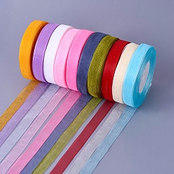 """Ruban d'organza, couleur mixte, 5/8"""" (15 mm); 50yards / roll (45.72m / roll), 10 rouleaux / groupe, 500yards / groupe (457.2m / groupe).(ORIB-15mm-M)"""