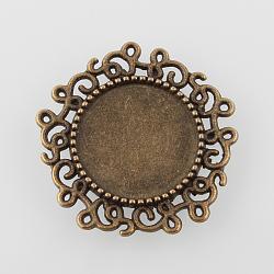 millésime wrap filigrane alliage rond et plat paramètres pendentif cabochon, sans nickel, bronze antique, plateau: 14 mm; 24x2 mm, trou: 0.9 mm(X-PALLOY-N0088-68AB-NF)
