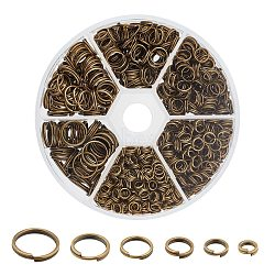 1 Box Iron Split Rings, 4mm/5mm/6mm/7mm/8mm/10mm, Nickel Free, Antique Bronze(IFIN-X0026-AB-NF-B)