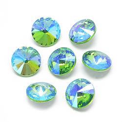 pointé cabochons en strass de verre, rivoli strass, Retour plaqué, facettes, ab couleur plaquée, cône, lightgreen, 14x6.5 mm(RGLA-T021-14mm-06)