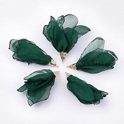 большие подвески из полиэстера, с железом выводы, цветок, светлое золото, темно-зеленый, 63~67x10 mm, отверстия: 1.5~2 mm(FIND-T051-09)