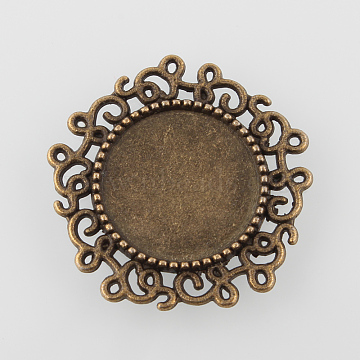 Vintage Filigree Wrap Flat Round Alloy Pendant Cabochon Settings, Cadmium Free & Nickel Free & Lead Free, Antique Bronze, Tray: 14mm; 24x2mm, Hole: 0.9mm(X-PALLOY-N0088-68AB-NF)