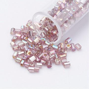 11/0 Two Cut Round Hole Glass Seed Beads, Hexagon, Silver Lined, Rainbow Plated, Thistle, 2x2mm, Hole: 0.5mm, about 41000pcs/pound(SEED-G006-2mm-640)
