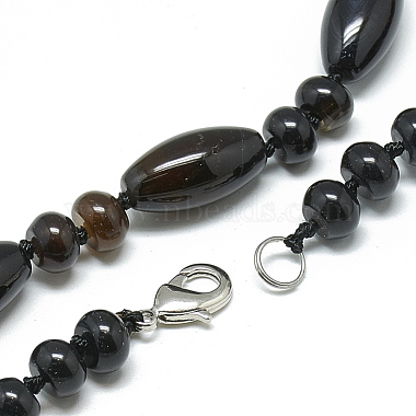 Natural Black Agate Beaded Necklaces(NJEW-S388-02)-2