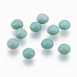 Accessoires d'artisanat teints turquoise synthétique pierres précieuses cabochons de dôme dos plat , demi-rond, darkcyan, 4x2mm(X-TURQ-S266-4mm-01)