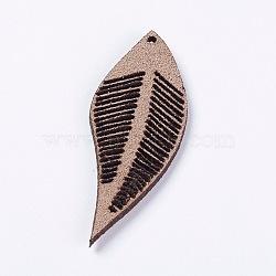 Искусственные замшевые украшения, лист, кофе, 43~44x16~17x1.5 мм, отверстие : 1 мм(FIND-L006-A04)