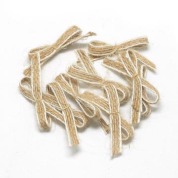 Handmade Hemp Costume Accessories, Bowknot, Tan, 15~20x40~50mm(X-FIND-R071-33)