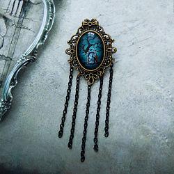 Alliage broches gland, avec strass de verre et la broche de fer, émeraude, 95mm(X-JEWB-N0001-053)