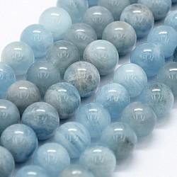 """Chapelets de perles en aigue-marine naturelle, rond, 10.5~11mm, trou: 1mm; environ 37 pcs/chapelet, 15.5""""(G-P371-23D)"""