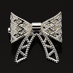 Elegant Women's Brass Back Bar Pin Bowknot Brooches, Silver Color Plated, 20x20mm; Pin: 0.5mm(JEWB-M002-01S)