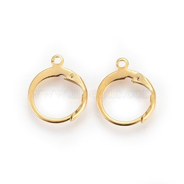 304 Stainless Steel Leverback Earring Findings, with Loop, Golden, 14.5x12.5x2mm, Hole: 1.2mm(STAS-I100-19G)