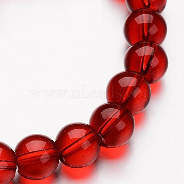 8mm Red Round Glass Beads