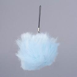 pom pom ball мобильные ремни, с поддельными волосами кролика, lightskyblue, 115 mm(MOBA-G065-A19)