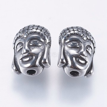 304 Stainless Steel Beads, Reversible, Buddha, Antique Silver, 11.5x9x6.5mm, Hole: 1.5mm(STAS-F195-024AS)
