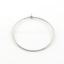 304 en acier inoxydable boucle d'oreille cerceau, couleur inox, 34 mm(X-STAS-R083-01)
