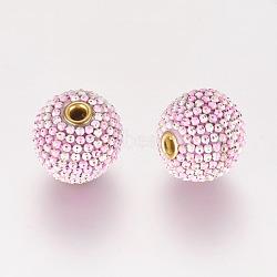 Perles Indonésiennes manuelles, avec une chaîne en fer, rond, rose, 16x15mm, Trou: 3mm(IPDL-A008-006B)