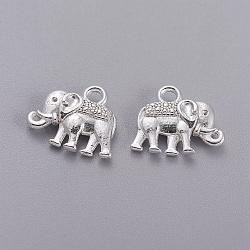 charmes de cru d'éléphant, charmes de style tibétain, sans plomb et sans nickel, argent, 12x14x2.5 mm, trou: 1 mm(X-PALLOY-ZN-47017-S-FF)