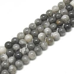 Chapelets de perles en pierre naturelle d'œil d'aigle, rond, 8~8.5mm, trou: 1mm; environ 50 pcs/chapelet, 15.7''(G-S300-110-8mm)