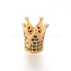 Латунные микро проложить кубический цирконий шарик, корона, золотые, 12x10 мм, отверстие : 1~5 мм(ZIRC-S053-YS009B-3)