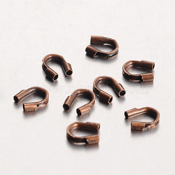 Environmental Rack Plating Brass Wire Guardians, Lead Free & Cadmium Free & Nickel Free, Red Copper, 5x4x1mm, Hole: 0.5mm(KK-I606-30R-NR)