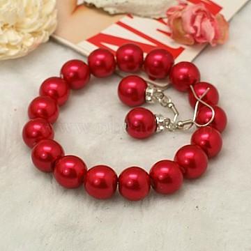 Fashion Glass Pearl Jewelry Sets, Earrings and Bracelets, with Middle East Rhinestone and Brass Earring Hooks, Crimson, Bracelets: about 55mm inner diameter, Earrings: about 40mm long(X-SJEW-JS00265-20)