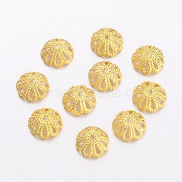 Brass Bead Caps, Plated With Gold, about 8mm in diameter, 3mm thick, hole: 1mm(X-EC131-G)