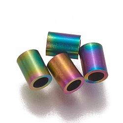Perles de tube en 304 acier inoxydable, multicolore, 4x3mm, Trou: 2mm(STAS-L216-23C-M)