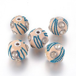 Perles d'Indonésie main, avec strass, découvertes de chaînes de fer et d'alliages, arrondir, argent antique et platine, cristal, antiquewhite, 22~25x20.5~21.5 mm, trou: 3~3.5 mm(IPDL-K004-A01)