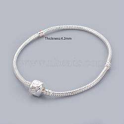 Bracelets de style européen en laiton , avec fermoir en laiton, fermoir avec le signe de l'amour, couleur argentée, environ 20 cm de long, épaisseur de 3mm, fermoir: 8 mm de long,  largeur de 10 mm(X-PPJ014Y-S)