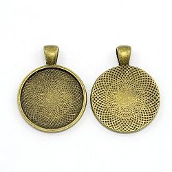 Sans nickel supports cabochons de pendentif rond tibétaine en alliage plate, bronze antique, plateau: 25 mm; 36x28x3 mm, Trou: 4x6mm(PALLOY-J412-33AB-NF)