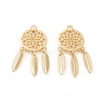 Brass Pendants, Long-Lasting Plated, Woven Net/Web with Feather, Real 18K Gold Plated, 24x10.5x1mm, Hole: 1.4mm(X-KK-K241-12G)