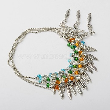 Valentine Days Gift Glass Seed Beads Anklets for Women, with Tibetan Style Feather Pendants, Brass Rhinestones Links and Lobster Claw Clasps, Platinum, Mixed Color, 300mm(AJEW-AN00008)