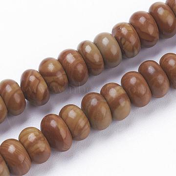 Natural Wood Lace Stone Beads Strands, Rondelle, 8~8.5x4~5mm, Hole: 1mm; about 78~79pcs/strand, 15.3 inches(39cm)(G-F520-06)