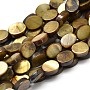 Dyed Natural Freshwater Shell Flat Oval Bead Strands, Dark Khaki, 8x6x6mm, Hole: 1mm; about 47pcs/strand, 15.1 inches