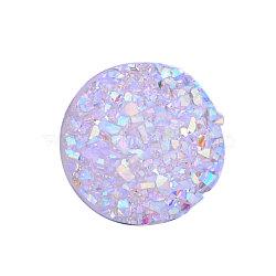 Cabochons en résine, imitation druzy agate, plat rond, de couleur plaquée ab , lilas, 12x3mm(X-CRES-Q191-HA027-1)