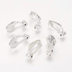 Clip laiton sur convertisseur de boucle d'oreille, accessoires de boucles d'oreilles, argenterie, 19x6x9mm, Trou: 1mm(KK-Q115-S)