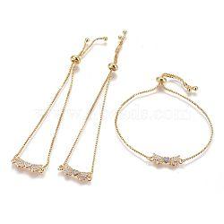 """Bracelets bolo réglables en laiton, Bracelets coulissants, chaînes de boîte, Avec de l'opale synthétique et de la zircone cubique, bowknot avec le coeur, or, lilas, 9-5/8"""" (24.5 cm), 1mm(BJEW-L618-06G-A)"""