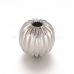Round 304 Stainless Steel Corrugated Beads, Stainless Steel Color, 8mm, Hole: 2mm(X-STAS-I050-01-8mm)