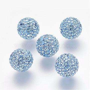 Half Drilled Czech Crystal Rhinestone Pave Disco Ball Beads, Large Round Polymer Clay Czech Rhinestone Beads, 211_Light Sapphire, 12mm(PP9), Hole: 1.2mm(RB-A059-H12mm-PP9-211)