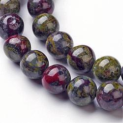 Chapelets de perle en jaspe de sang de dragon naturel, rond, 8mm, trou: 1mm; environ 46~48 pcs/chapelet, 14.96''(G-G957-24-8mm)